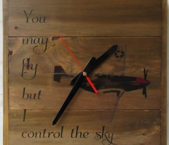 wooden clock with airplane